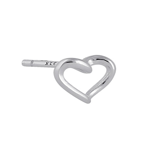 Sterling Silver Curved Heart Earrings