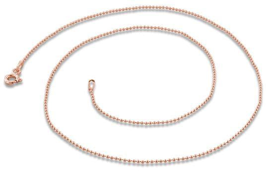 14K Rose Gold Plated Sterling Silver Bead Chain 1MM