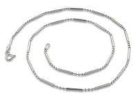 Sterling Silver Bar & 3 Beads Chain 1.6mm