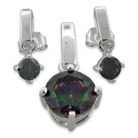Sterling Silver Mystique Topaz CZ Set