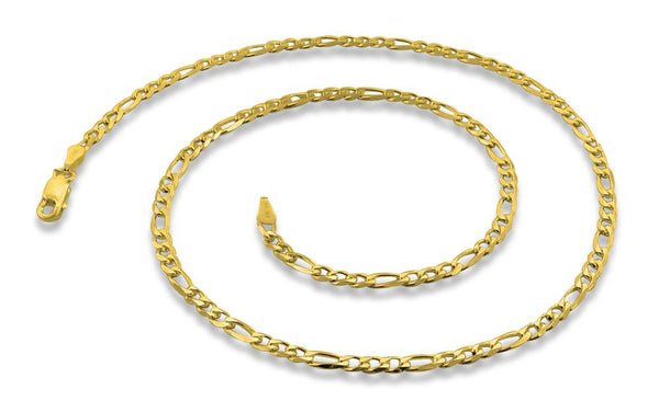 14K Gold Plated Sterling Silver Figaro Chain 3.1MM