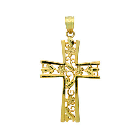 Gold Plated Sterling Silver Floral Cross Pendant