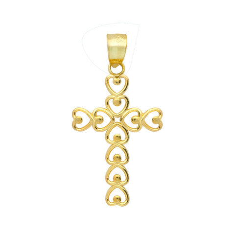 Gold Plated Sterling Silver Multiple Heart Shaped Cross Pendant