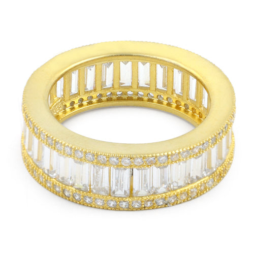 Gold Plated Sterling Silver Emerald Cut Eternity Pave Clear CZ Ring