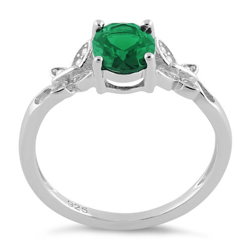 Sterling Silver Double Butterfly Emerald Center Stone CZ Ring