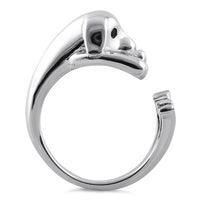 Sterling Silver Dog Black CZ Ring