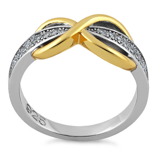 Sterling Silver Infinity Pave Two-Tone Clear CZ Ring