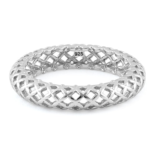 Sterling Silver High Polish Cross Pattern Eternity Ring