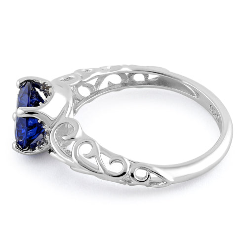 Sterling Silver Swirl Design Tanzanite and Clear CZ Ring
