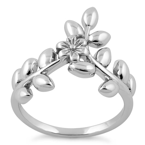 Sterling Silver Flower Leaves Ring