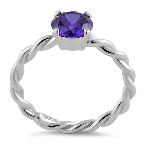 Sterling Silver Amethyst Twisted Band CZ Ring
