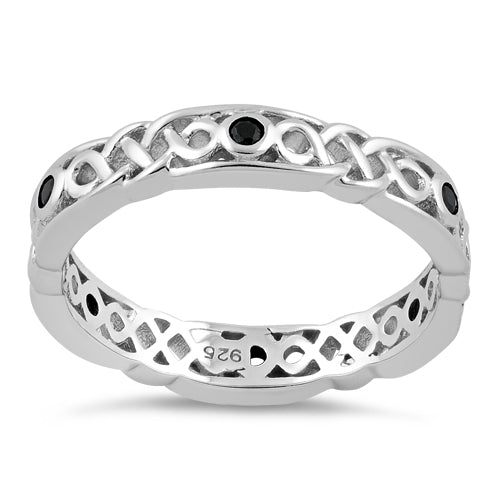 Sterling Silver Braided Eternity Black CZ Ring