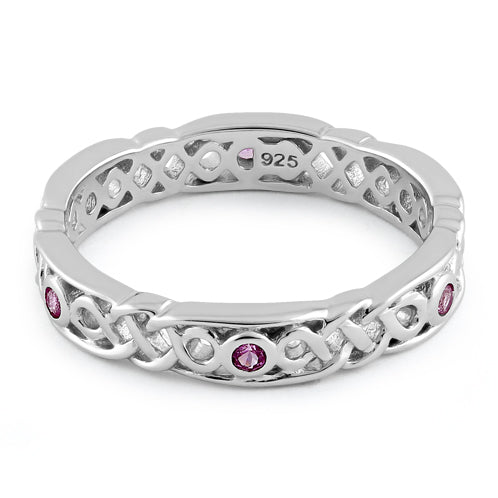 Sterling Silver Braided Eternity Ruby CZ Ring