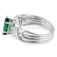 Sterling Silver Celtic Emerald Marquise CZ Ring