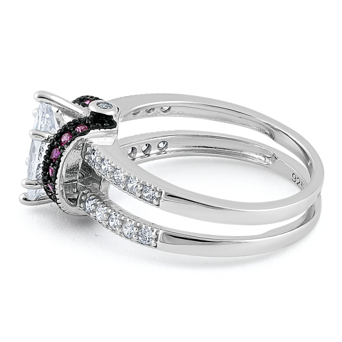 Sterling Silver Clear Marquise Ruby CZ Black Plating Ring
