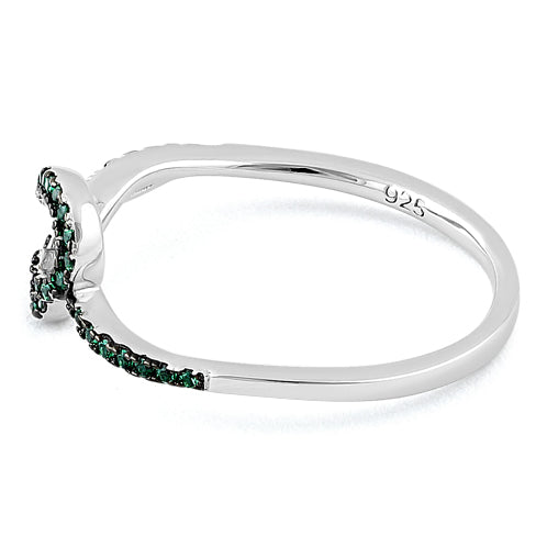 Sterling Silver Curvy Heart Emerald CZ Ring