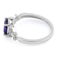 Sterling Silver Double Butterfly Amethyst Center Stone CZ Ring