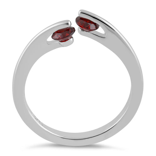 Sterling Silver Double Round Garnet CZ Ring