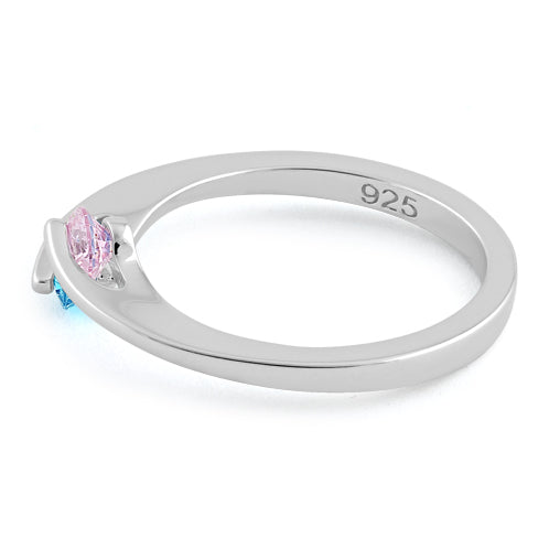 Sterling Silver Double Round Pink and Aqua Blue CZ Ring