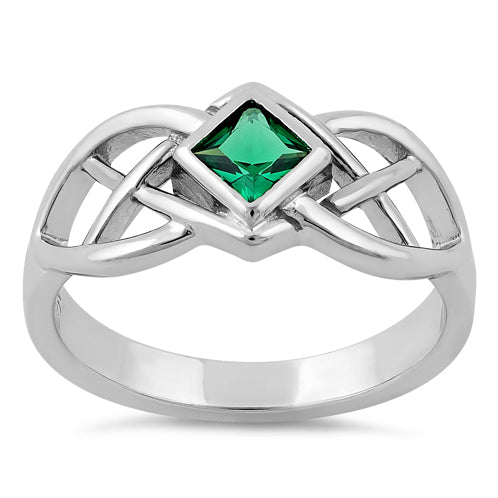 Sterling Silver Emerald CZ Celtic Ring