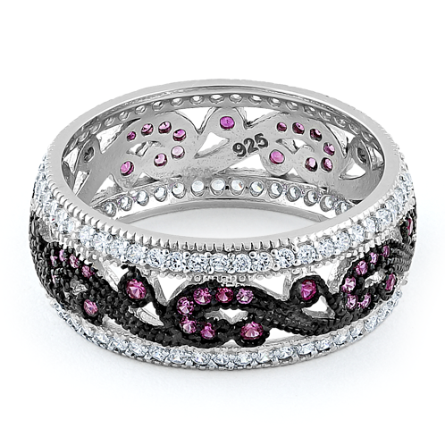 Sterling Silver Filigree Ruby CZ Black Plating Ring