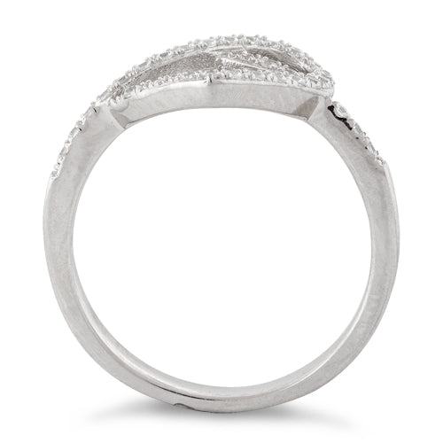 Sterling Silver Heart Knot Pave CZ Ring
