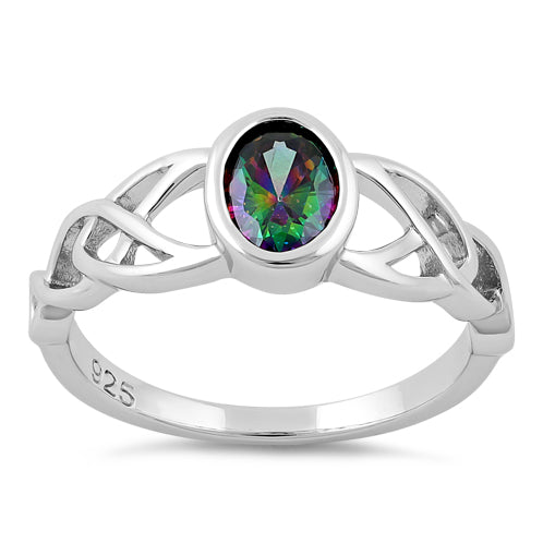 Sterling Silver Oval Rainbow Topaz CZ Celtic Ring