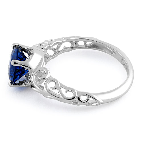 Sterling Silver Swirl Design Blue Spinel and Clear CZ Ring