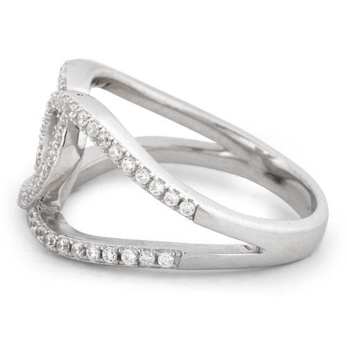 Sterling Silver Tangled Strings Pave CZ Ring