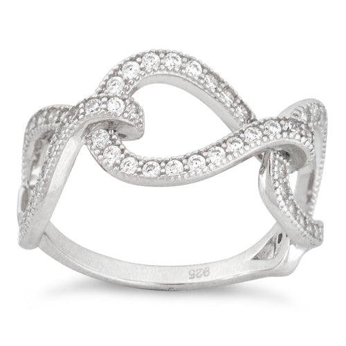 Sterling Silver Twisted Infinity Pave CZ Ring
