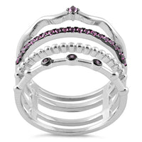 Sterling Silver Unique Multi-Style Ruby CZ Ring