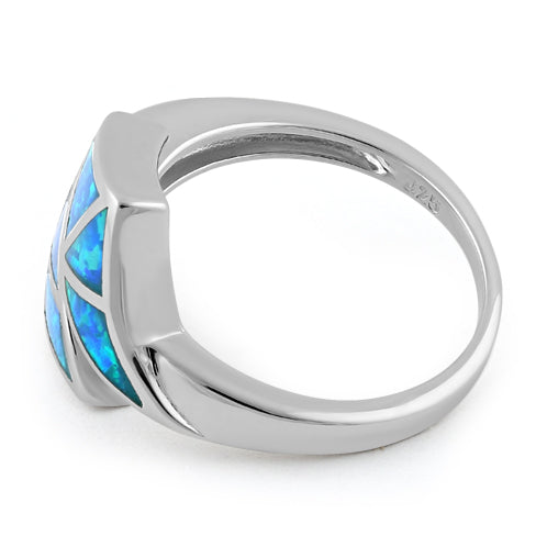 Sterling Silver Double Fish Tale Blue Lab Opal Ring