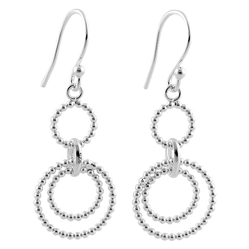 Sterling Silver Beaded Rings Dangle Hook Earrings