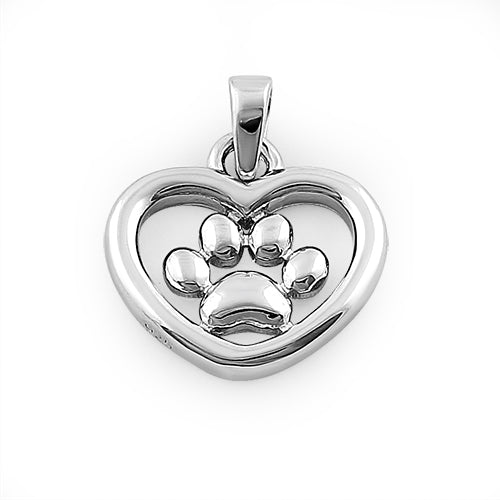 Sterling Silver Hear & Paw Pendant