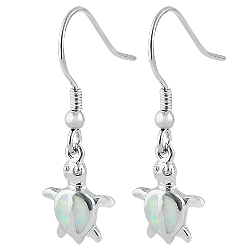 Sterling Silver White Lab Opal Sea Turtle Hook Earrings