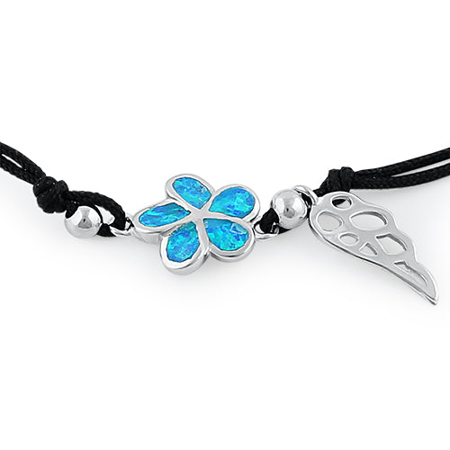 Sterling Silver Winged Blue Lab Opal Plumeria Adjustable Silk Bracelet