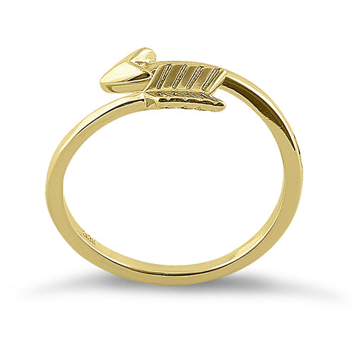 Sterling Silver Gold Plated Arrow Ring
