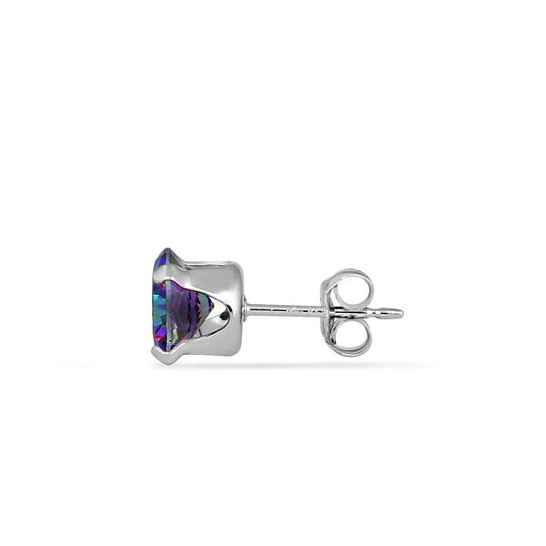 1.5ct Sterling Silver Round Rainbow Topaz CZ Stud Earrings 6mm