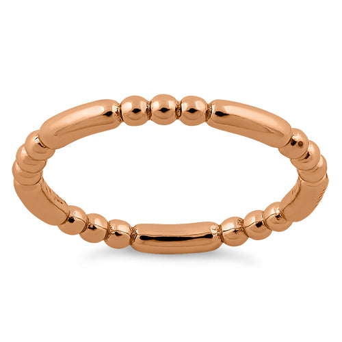 Rose Gold Plated Stackable Bead and Bar Ring