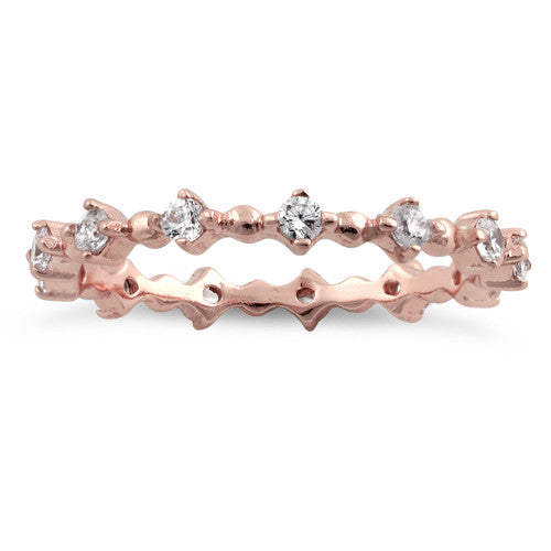 Rose Gold Sterling Silver Eternity Thin CZ Ring