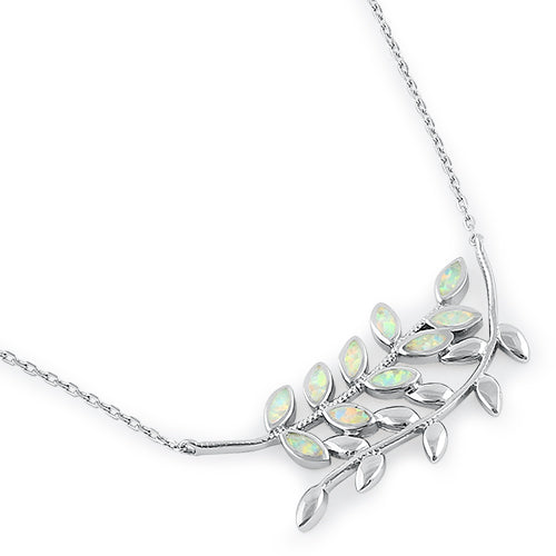 Serling Silver White Opal Trendy Leaf Necklace