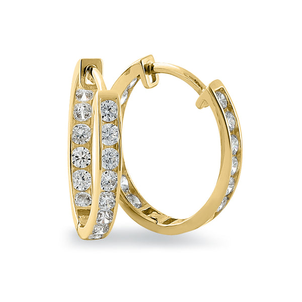 Solid 14K Yellow Gold 1.3mm x 17mm Clear CZ Hoop Earrings