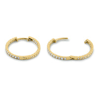 Solid 14K Yellow Gold 1.3mm x 20mm Clear CZ Hoop Earrings