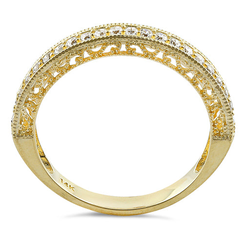 Solid 14K Yellow Gold Half Eternity Clear CZ Ring