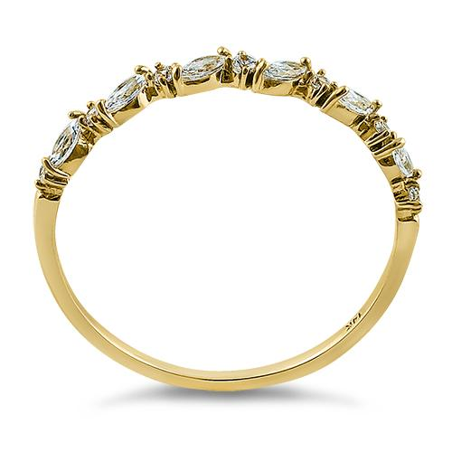 Solid 14K Yellow Gold Half Eternity Clear Marquise & Round Cut CZ Engagement Band
