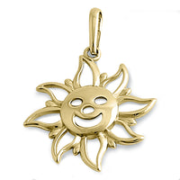 Solid 14K Yellow Gold Sunshine Face Pendant