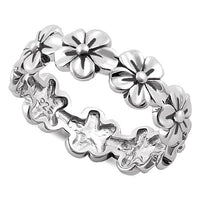 Sterling Silver Twlight Plumeria Eternity Ring