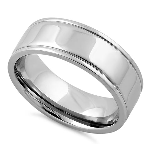 Stainless Steel Double Groove Polished Band Ring