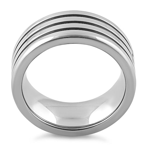 Stainless Steel Four Layers Triple Groove Band Ring