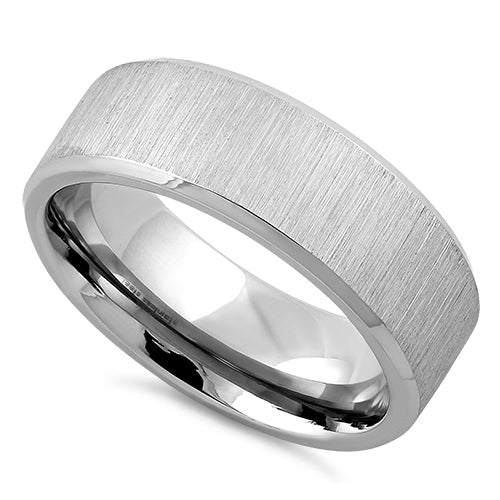 Stainless Steel Polished Beveled Brushed Finish Band Ring